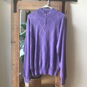 Peter Millar argyle 1/4 zip sweater